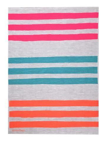 Triple Stripe linen tea towel in Neon pink, Turquoise & Neon orange