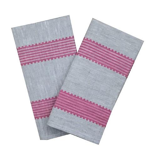 Rose Grosgrain Stripe Linen Napkins (Set of 4)