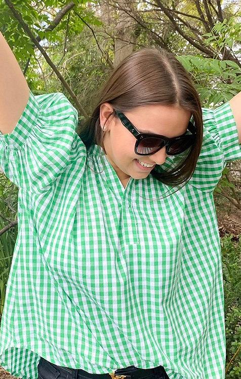 Zjoosh Short Sleeve Kell Gingham Shirt In Green