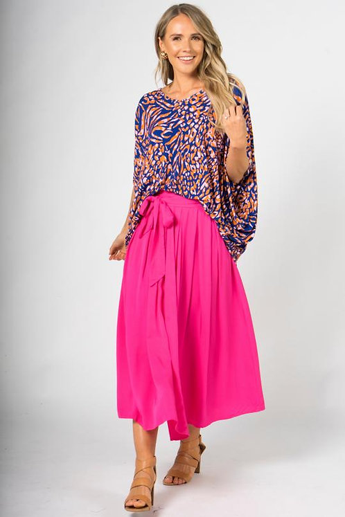 PQ Collection Twirl Tie Skirt In Hot Pink