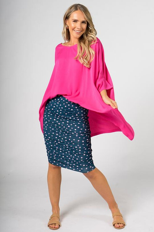 PQ Collection Ruche Skirt In Spring Fling