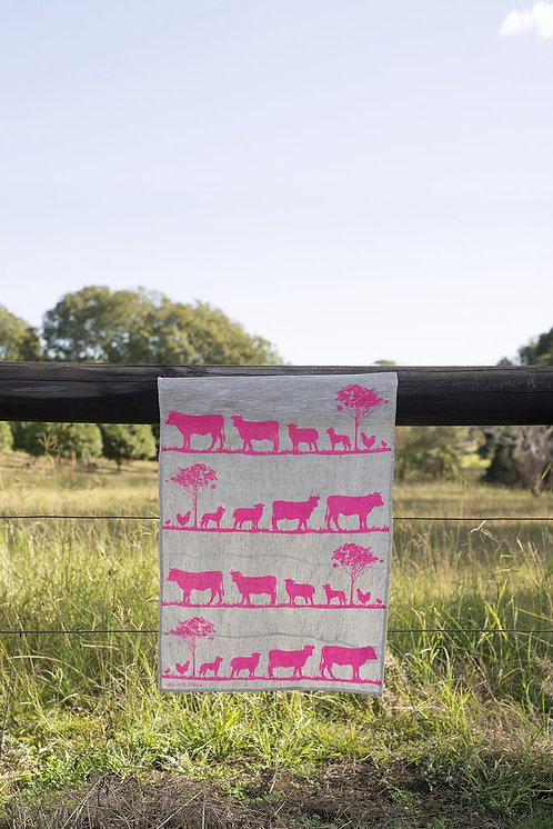 Highlighter Pink Paddock Linen Tea Towel
