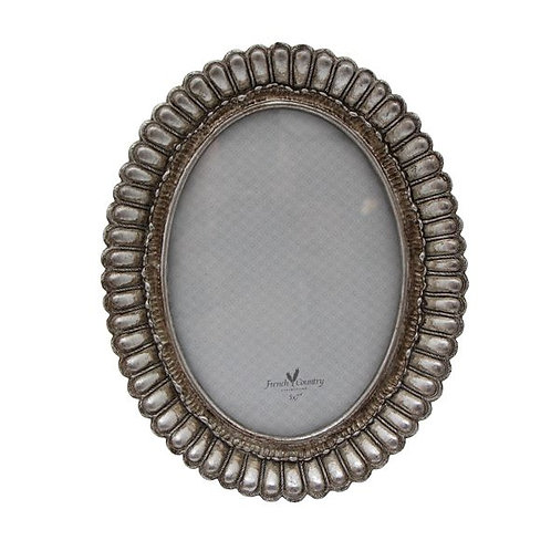 Fanned Oval Frame Pewter Finish 5x7