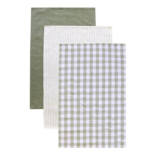 Woven Green Tea Towel Pack - Set Of 3