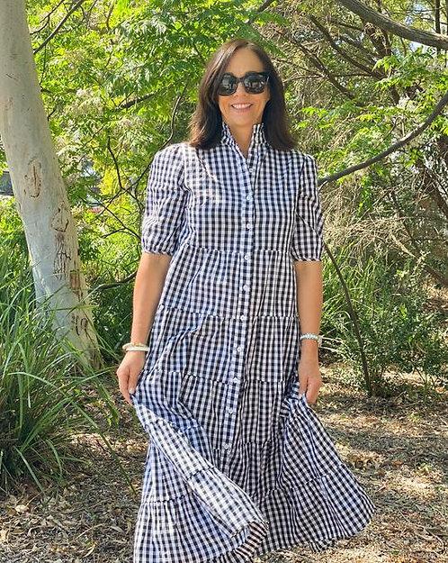 Angelina Frill Dress Check Black