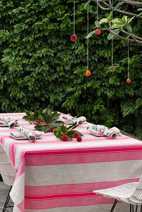 Neon pink Grosgrain stripe linen tablecloth