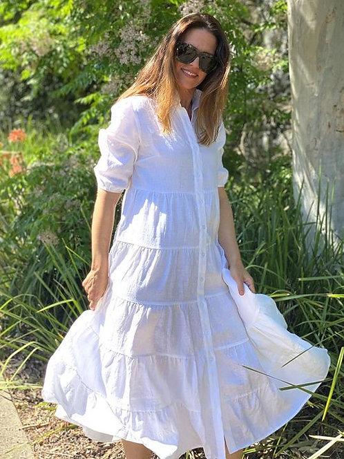 Zjoosh Angelina Frill Linen Dress In White