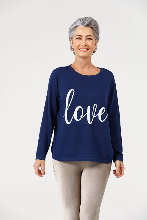 Petra Love Knit Midnight Blue & Off White
