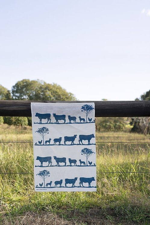 Navy Paddock Linen Tea Towel