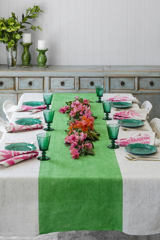 Green Colourblock linen tablecloth