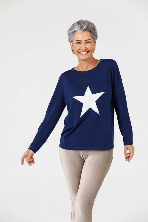 Petra Star Knit Midnight Blue & Off White