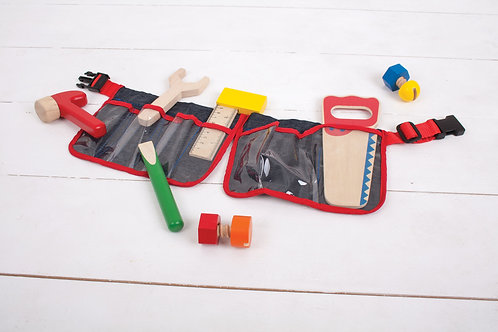 10pce Wooden Toy 'Red Carpenter's Belt'