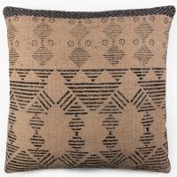 Tribal Block Printed Cushion - Tan / Charcoal