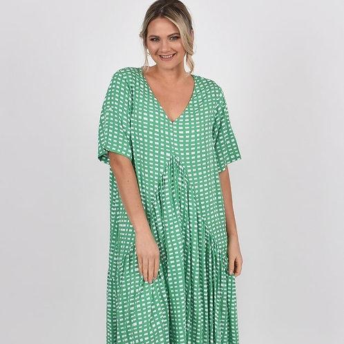 Peak Maxi Dress- Apple Check