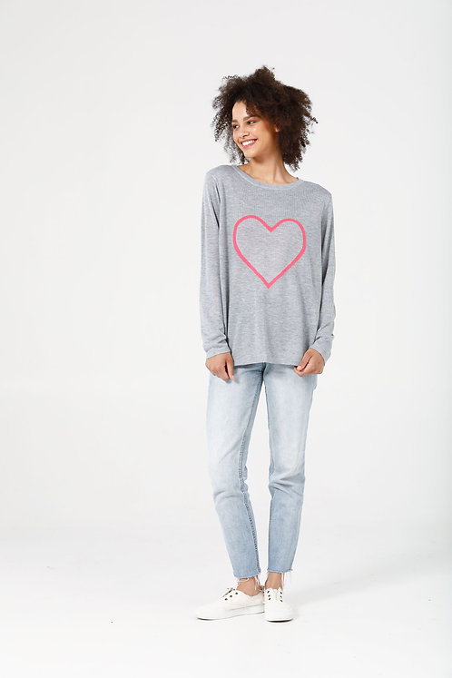 Petra Heart Knit Grey and Off White