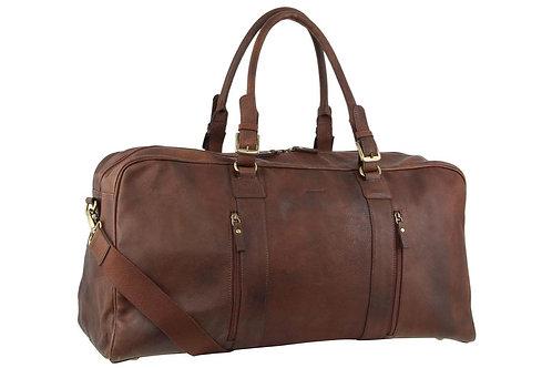 Pierre Cardin Leather Overnight Bag Chocolate