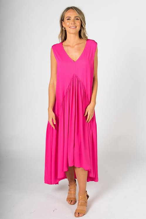 PQ Collection Sleeveless Peak Maxi Dress In Hot Pink