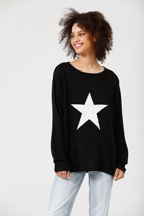 Petra Star Knit Black & Off White