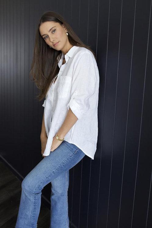 White Boyfriend Linen Shirt