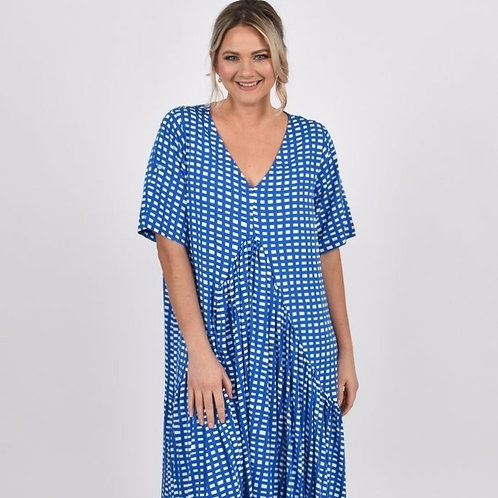 Peak Maxi Dress- Royal Check
