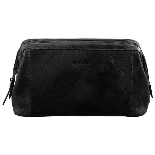 Pierre Cardin Men's Rustic Leather Toilet Bag-Black