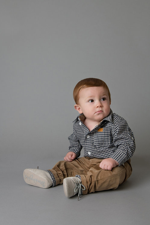 Baby Boys Shirt Romper - Navy/ White Gingham