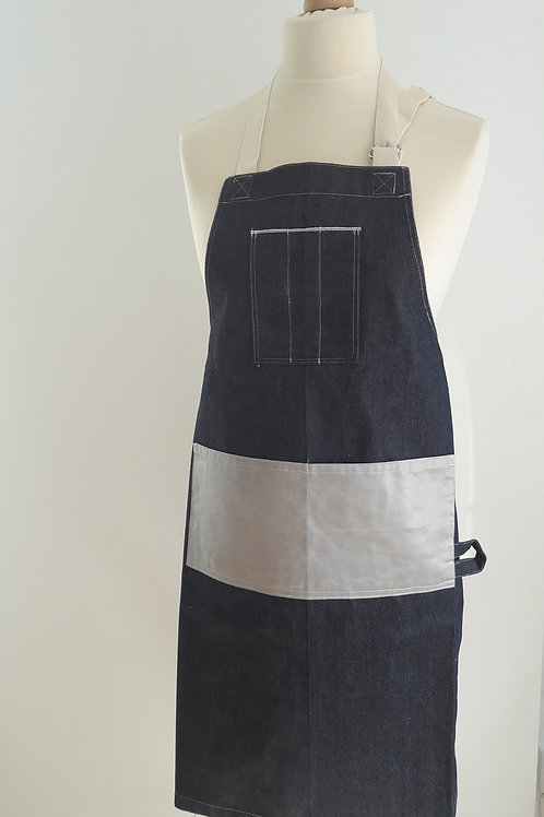 Selvedge Denim Apron with waxed cotton pocket