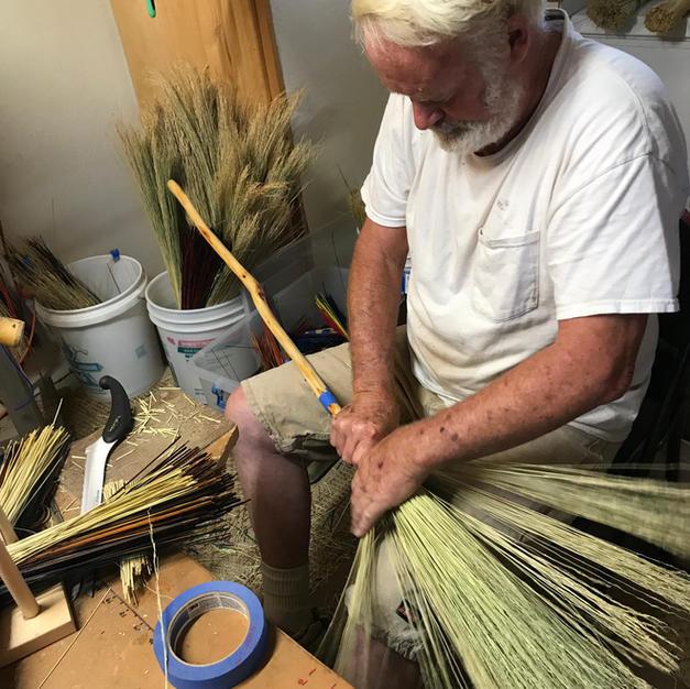 Tom tying a sweeper