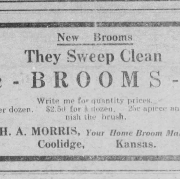 A 1919 newspaper ad for Great-Grandpa Morris's brooms
