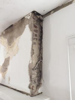 Plaster over masonry chimney