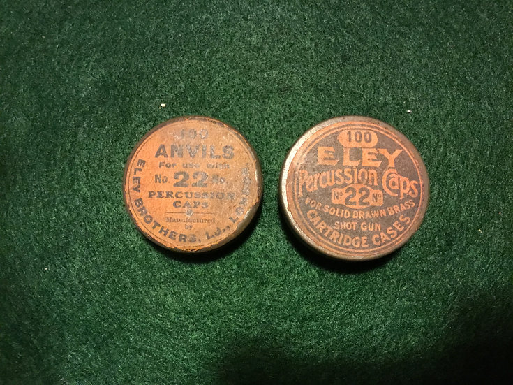 Eley Percussion caps and anvils, two cans both full and nice