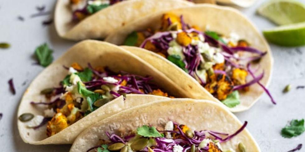 Fall Tacos with Apple Kale Slaw and Avocado Crema