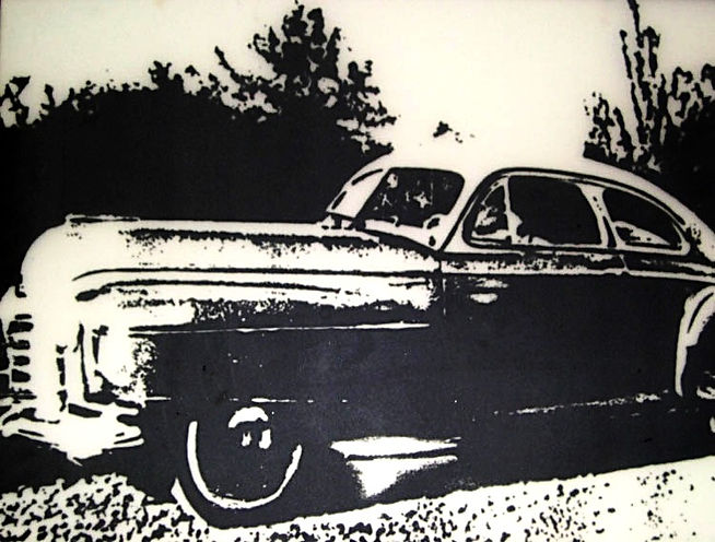 Studebaker, screen printed onto plate glass
