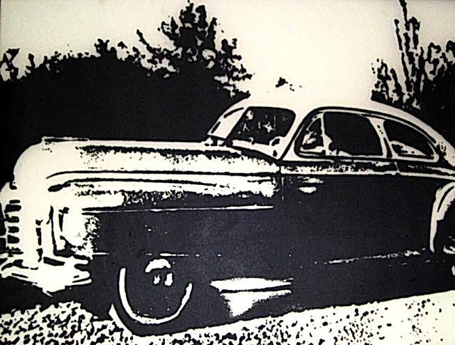 Studebaker, screen printed onto plate glass