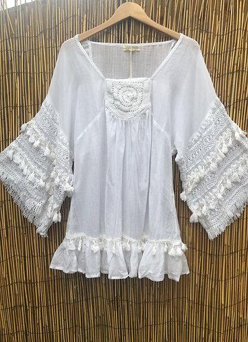 Margot Boho Crochet Tunic with Tassels White