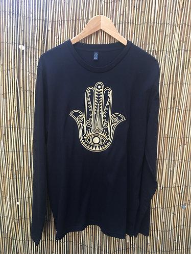 SAMPLE Embroidered Hamsa L/S Organic Tee Black/Gold