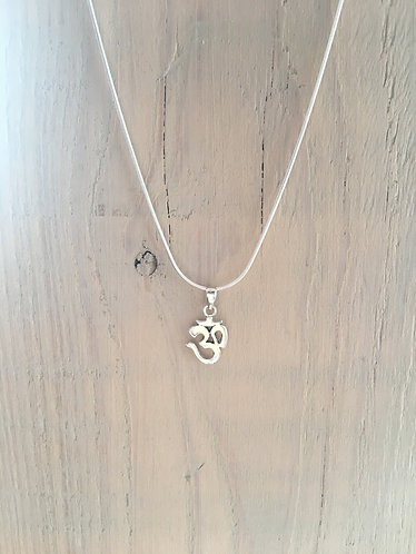 Small Sterling Silver OM pendant and necklace