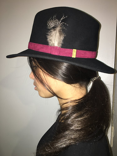 Wool Felt Fedora with Feather in Black