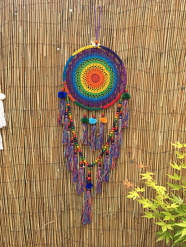 Fair Trade Crochet Rainbow Dream Catcher with Pom Poms Large