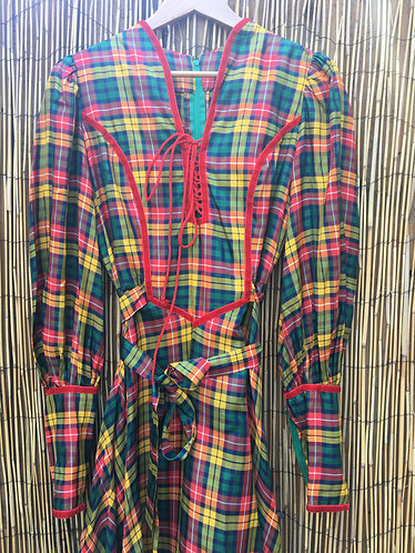 Vintage, Striking Check Folklore Dress