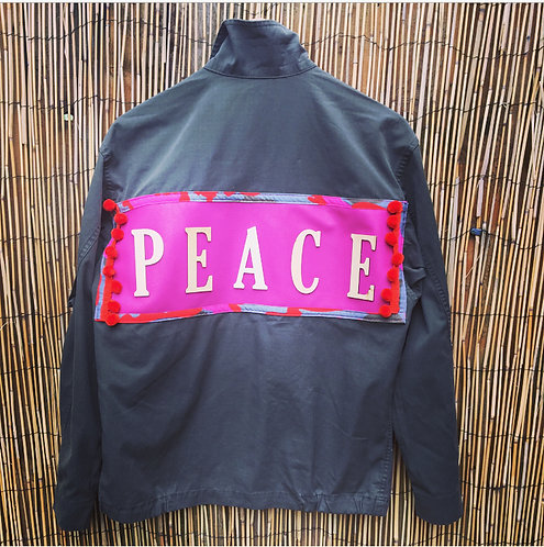 Army Surplus Jacket Upcycled with Peace Slogan