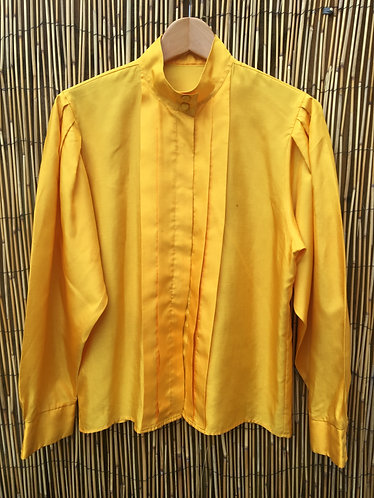 Vintage Pleat and Tuck Blouse Golden Yellow