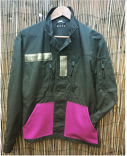 Army Surplus Jacket Upcycled in Hot Pink/Gold
