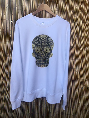 Zoti Mexican Skull Organic Sweat White
