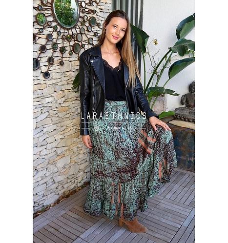 Sano Boho Wrap Frill Skirt Green