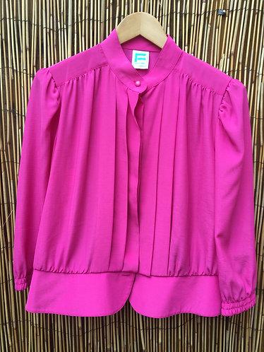 Vintage Nehru Collar Pleat Blouse Hot Pink