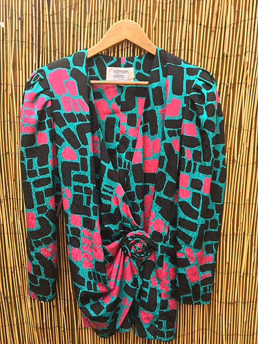 Vintage 80's Drape And Wrap Geo Print Dress/Top