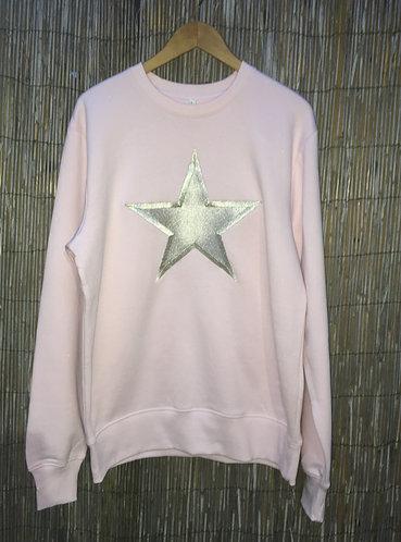 Zoti Embroidered Star Organic Sweat Soft Pink