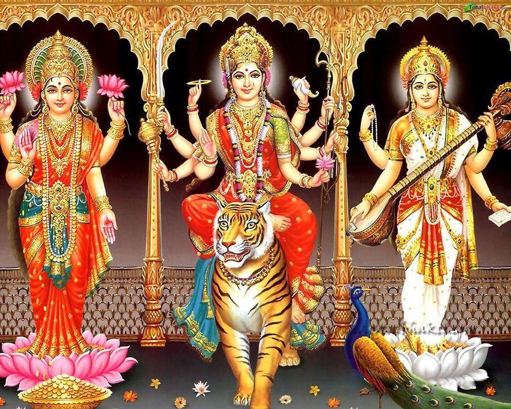 Lakshmi, Durga and Saraswati