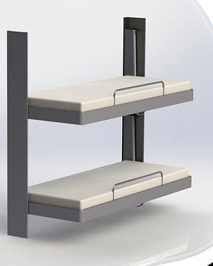Pullman Bed. En veggmontert nedtrekkbar seng designet i samarbeid med den maritime industrien.